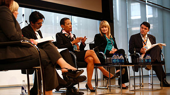 Carlos Manzano at The New York Times Center moderating a NYC workforceand education panel